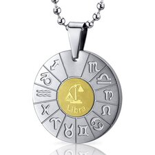 <strong>Oravo</strong> Libra Scales Sign Zodiac Symbol Stainless Steel Circle Pendant Necklace
