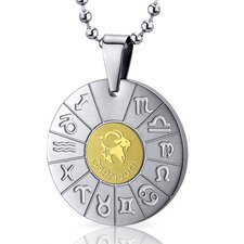 Capricorn Goat Sign Zodiac Symbol Stainless Steel Circle Pendant Necklace