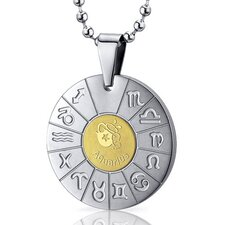 Aquarius Water Bearer Sign Zodiac Symbol Stainless Steel Circle Pendant Necklace