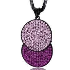 Overlapping Circles Pink and Fuchsia Swarovski Crystal Double Circle Pendant Necklace