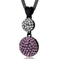 Double Disco Ball Pink and Clear Swarovski Crystal Pendant Necklace