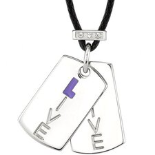 Live with Spirit Surgical Stainless Steel High Polished Finish Dog Tag Pendant Engraved with Live and Accented with CZ