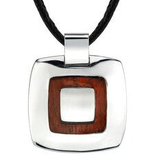 Extraordinary Style Designer Inspired High-Polish Surgical Stainless Steel and Redwood Finish Pendant on a Black Cord