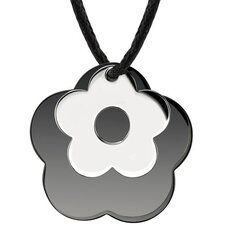 Floral Power Surgical Stainless Steel with Black Enamel and Chrome Finish Flower Pendant on a Black Cord