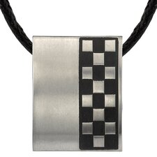 Sleek and Sophisticated Titanium Brushed Finish Rubber Rectangular Bar Pendant on a Black Cord for Men