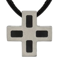 Faithful Fashion Titanium Brushed Finish and Black Rubber-inlay Square Cross Pendant on a Black Cord for Men
