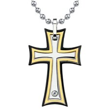 <strong>Oravo</strong> Medieval Power Surgical Stainless Steel Gold-finish Cross Pendant on a Stainless Steel Ball Chain for Men