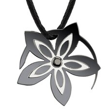 Say it with Flowers Designer Inspired Surgical Stainless Steel Gunmetal Finish Flower Pendant on a Black Cord
