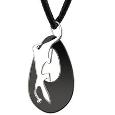 Wildlife Fashion Designer Inspired Surgical Stainless Steel Gunmetal Finish Gecko Disc Pendant on a Black Cord for Men