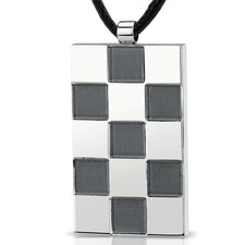 Stainless Steel Chessboard design, Brush finish and High polish Square Pendant with Adjustable Black Cord