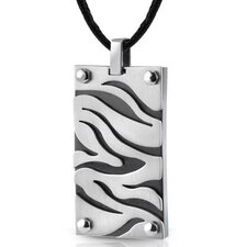 Stainless Steel Zebra Pattern Pendant on a Black Cord