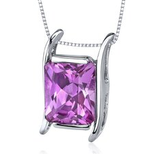 Striking Color 4.25 Carats Radiant Cut Pink Sapphire Pendant in Sterling Silver