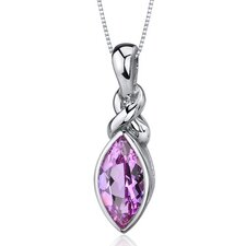 Graceful Allure 2.25 Carats Marquise Cut Pink Sapphire Pendant in Sterling Silver