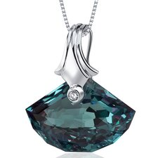 Spectacular Shell Cut 21.00 Carat Alexandrite Necklace in Sterling Silver