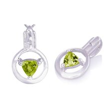 <strong>Oravo</strong> Trillion Cut Peridot Pendant in Sterling Silver