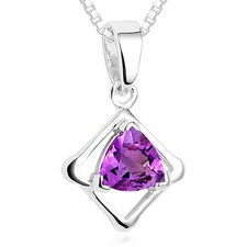 Trillion Cut Amethyst Pendant Necklace in Sterling Silver