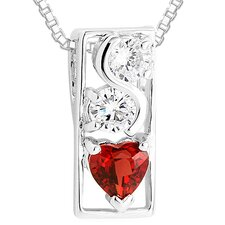 Multicut Garnet & White CZ Three Stone Pendant Necklace in Sterling Silver