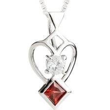 Princess Garnet Round Cut White CZ Pendant Necklace in Sterling Silver