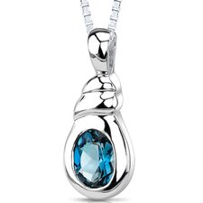 1.50 Carats Genuine Oval Shape London Blue Topaz Pendant Necklace in Sterling Silver