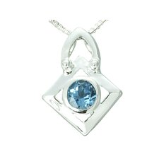 1.00 Carat Round Genuine London Blue Topaz Pendant Necklace in Sterling Silver