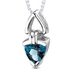 <strong>Oravo</strong> 1.50 Carats Trillion Cut Genuine London Blue Topaz Pendant Necklace in Sterling Silver
