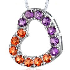 2.00 Carats Total Weight Round Shape Padparascha Sapphire and Amethyst Open Heart Pendant Necklace in Sterling Silver