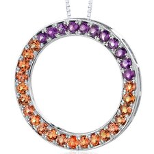 3.75 Carats Total Weight Round Shape Padparascha Sapphire and Amethyst Circle of Life Pendant Necklace