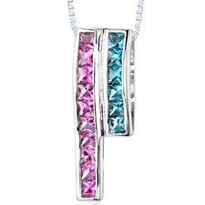 3.00 Carats Total Weight Princess Cut Pink Sapphire and Swiss Blue Topaz Slider Pendant Necklace