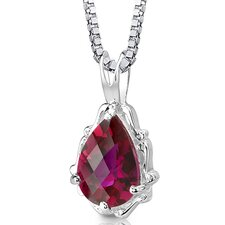 <strong>Oravo</strong> Imperial Beauty Pear Shape Checkerboard Cut Ruby Pendant in Sterling Silver