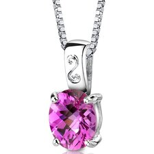 <strong>Oravo</strong> Spring Dream Oval Shape Checkerboard Cut Pink Sapphire Pendant in Sterling Silver