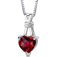 Passionate Pledge Heart Shape Checkerboard Cut Ruby Pendant in Sterling Silver