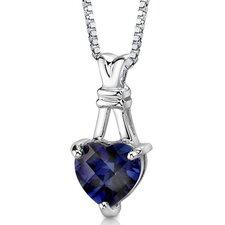 Passionate Pledge Heart Shape Checkerboard Cut Blue Sapphire Pendant in Sterling Silver