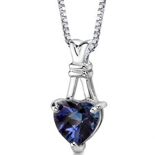 Passionate Pledge Heart Shape Checkerboard Cut Alexandrite Pendant in Sterling Silver