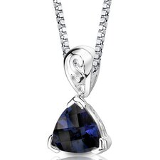 Sweet Elegance Trillion Checkerboard Cut Blue Sapphire Pendant in Sterling Silver