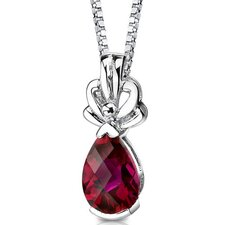 Royal Grace Pear Shape Checkerboard Cut Ruby Pendant in Sterling Silver
