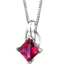 Sensational Glamour Princess Checkerboard Cut Ruby Pendant in Sterling Silver