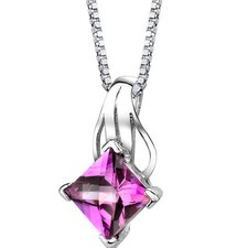 Sensational Glamour Princess Checkerboard Cut Pink Sapphire Pendant in Sterling Silver