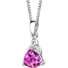 Sensual Splendor Trillion Checkerboard Cut Pink Sapphire Pendant in Sterling Silver