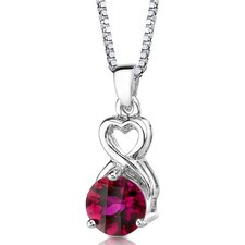 Magical Romance Round Shape Checkerboard Cut Ruby Pendant in Sterling Silver