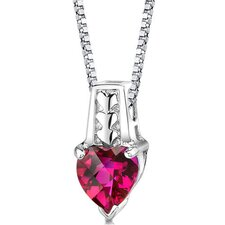 Cherished Forever Heart Shape Checkerboard Cut Ruby Pendant in Sterling Silver