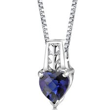Cherished Forever Heart Shape Checkerboard Cut Blue Sapphire Pendant in Sterling Silver