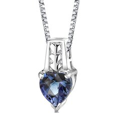 Cherished Forever Heart Shape Checkerboard Cut Alexandrite Pendant in Sterling Silver