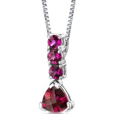 Dazzling Elegance Multishape Checkerboard Cut Ruby Pendant in Sterling Silver