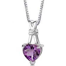 Passionate Pledge 2.25 Carats Heart Shape Amethyst Pendant in Sterling Silver