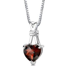Passionate Pledge 3.25 Carats Heart Shape Checkerboard Cut Garnet Pendant in Sterling Silver