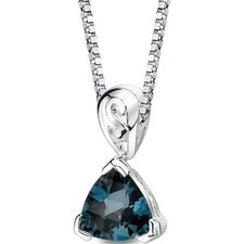 Sweet Elegance 2.00 Carats Trillion London Blue Topaz Pendant in Sterling Silver