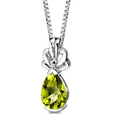 Royal Grace 2.00 Carats Pear Shape Checkerboard Cut Peridot Pendant in Sterling Silver