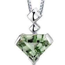 Superman Cut 6.25 Carats Green Amethyst Pendant in Sterling Silver