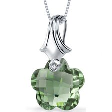Blooming Flower Cut 11.00 Carat Green Amethyst Pendant Necklace in Sterling Silver