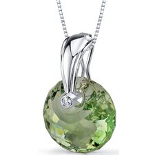 Spherical Cut 15.00 Carats Green Amethyst Pendant Necklace in Sterling Silver